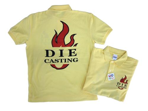 所属部署の皆様で運動会を盛り上げるべくチームポロを作製いただきました。  イエローにダイキャスティングの文字と炎の赤色が鮮やかです。 皆さんの意気込みと気合が感じられるデザインですね。  ボディはプリントスターの吸汗速乾の機能も備えた鹿の子ポロ!   http://happy-shirts.com/item_detail/178/  着心地抜群!!是非皆様のチームにもいかがでしょうか~