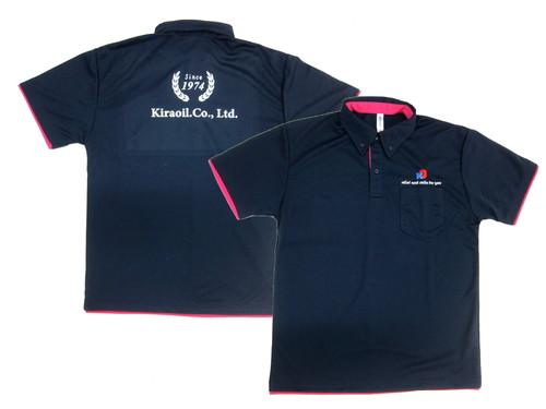 重ね着風レイヤードポロシャツに企業様ロゴをワンポイント刺繍+背中に・・・